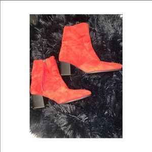 Top Shop Red Ankle Boots- Size 6